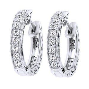 2 Carats Round Cut Diamond Women Hoop Ear Ring Whi